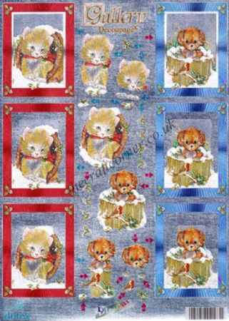 Christmas Cats & Dogs Die Cut 3d Decoupage Sheet From Dufex